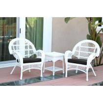 3pc Santa Maria White Wicker Chair Set - Black Cushions