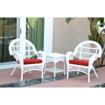 3pc Santa Maria White Wicker Chair Set - Brick Red Cushions