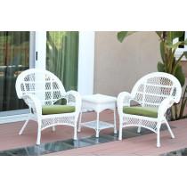 3pc Santa Maria White Wicker Chair Set - Sage Green Cushions