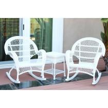 3pc Santa Maria White Rocker Wicker Chair Set Without Cushion