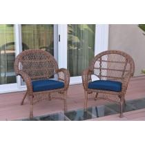 Santa Maria Honey Wicker Chair with Cushion Set of 2