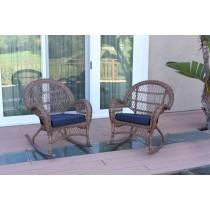 Santa Maria Honey Wicker Rocker Chair with Cushion - Set of 2
