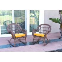 Santa Maria Honey Wicker Rocker Chair with Mustard Cushion - Set of 2