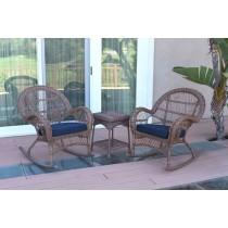 3pc Santa Maria Honey Rocker Wicker Chair Set With Cushions