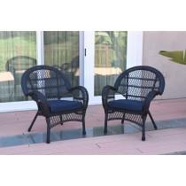 Santa Maria Black Wicker Chair with Cushion Set of 2