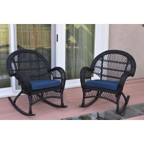 Santa Maria Black Wicker Rocker Chair with Cushion - Set of 2