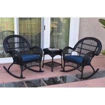 3pc Santa Maria Black Rocker Wicker Chair Set With Cushions