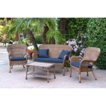 4pc Windsor Honey Wicker Conversation Set With Cushions
