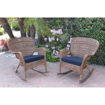 Set of 2 Windsor Honey Resin Wicker Rocker Chair with Cushions