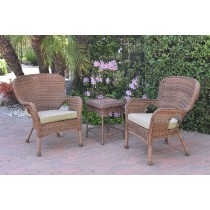 Windsor Honey Wicker Chair And End Table Set With Tan Chair Cushion