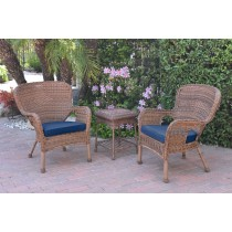 Windsor Honey Wicker Chair And End Table Set With Blue Chair Cushion