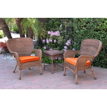 Windsor Honey Wicker Chair And End Table Set With Orange Chair Cushion