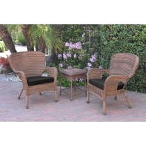 Windsor Honey Wicker Chair And End Table Set With Black Chair Cushion