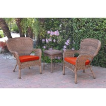 Windsor Honey Wicker Chair And End Table Set With Brick Red Chair Cushion