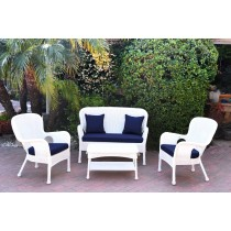4pc Windsor White Wicker Conversation Set With Cushions
