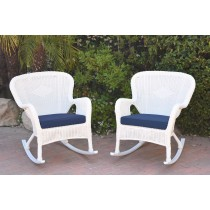 Set of 2 Windsor White Resin Wicker Rocker Chair with Cushions