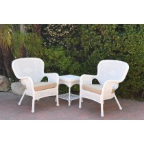 Windsor White Wicker Chair And End Table Set With Tan Chair Cushion