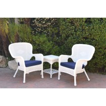 Windsor White Wicker Chair And End Table Set With Blue Chair Cushion