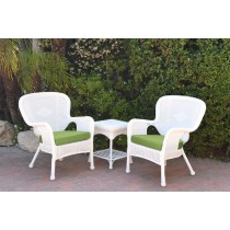 Windsor White Wicker Chair And End Table Set With Green Chair Cushion