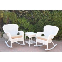 Windsor White Wicker Rocker Chair And End Table Set With Tan Chair Cushion