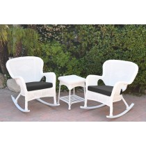 Windsor White Wicker Rocker Chair And End Table Set With Black Chair Cushion