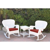 Windsor White Wicker Rocker Chair And End Table Set With Brick Red Chair Cushion