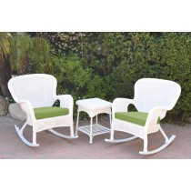 Windsor White Wicker Rocker Chair And End Table Set With Green Chair Cushion
