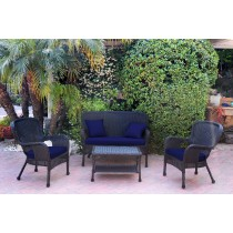 4pc Windsor Black Wicker Conversation Set With Cushions