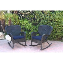 Set of 2 Windsor Black  Resin Wicker Rocker Chair with Cushions