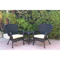 Windsor Black Wicker Chair And End Table Set With Tan Chair Cushion
