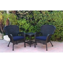 Windsor Black Wicker Chair And End Table Set With Blue Chair Cushion