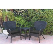 Windsor Black Wicker Chair And End Table Set With Black Chair Cushion