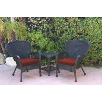 Windsor Black Wicker Chair And End Table Set With Brick Red Chair Cushion