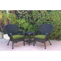 Windsor Black Wicker Chair And End Table Set With Green Chair Cushion