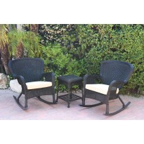 Windsor Black Wicker Rocker Chair And End Table Set With Tan Chair Cushion