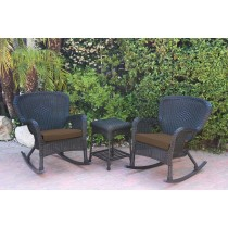 Windsor Black Wicker Rocker Chair And End Table Set With Brown Chair Cushion