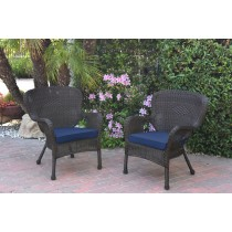 Set of 2 Windsor Espresso Resin Wicker Chair with Cushion