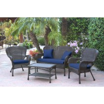 4pc Windsor Espresso Wicker Conversation Set With Cushions