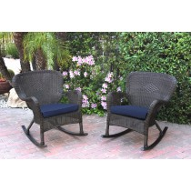 Set of 2 Windsor Espresso Resin Wicker Rocker Chair with Cushions