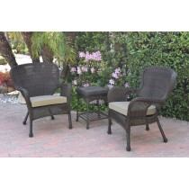 Windsor Espresso Wicker Chair And End Table Set With Tan Chair Cushion