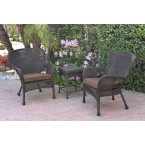 Windsor Espresso Wicker Chair And End Table Set With Brown Chair Cushion