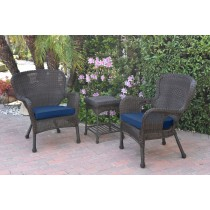 Windsor Espresso Wicker Chair And End Table Set With Blue Chair Cushion