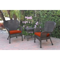 Windsor Espresso Wicker Chair And End Table Set With Brick Red Chair Cushion