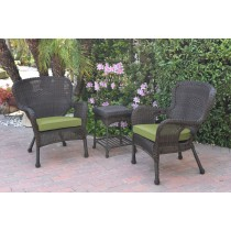 Windsor Espresso Wicker Chair And End Table Set With Green Chair Cushion