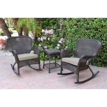Windsor Espresso Wicker Rocker Chair And End Table Set With Tan Chair Cushion
