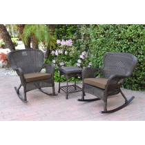 Windsor Espresso Wicker Rocker Chair And End Table Set With Brown Chair Cushion
