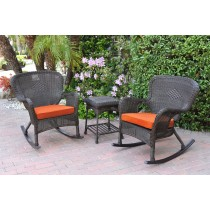 Windsor Espresso Wicker Rocker Chair And End Table Set With Orange Chair Cushion