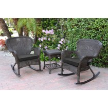 Windsor Espresso Wicker Rocker Chair And End Table Set With Black Chair Cushion