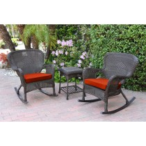 Windsor Espresso Wicker Rocker Chair And End Table Set With Red Chair Cushion
