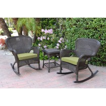 Windsor Espresso Wicker Rocker Chair And End Table Set With Green Chair Cushion